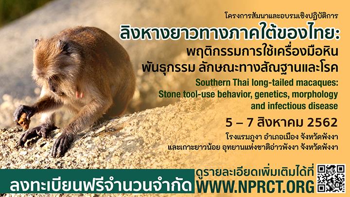 """สัมมนาและอบรมเชิงปฏิบัติการ เรื่อง """"ลิงหางยาวทางภาคใต้ของไทย: พฤติกรรมการใช้เครื่องมือหิน พันธุกรรม ลักษณะทางสัณฐานและโรค"""