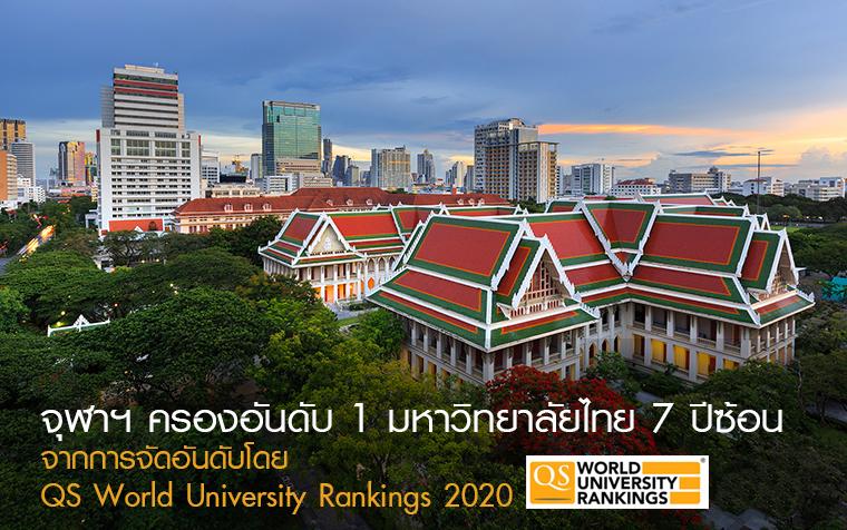จุฬาฯ ครองอันดับ 1 มหาวิทยาลัยไทย 7 ปีซ้อน จากการจัดอันดับโดย QS World University Rankings 2020