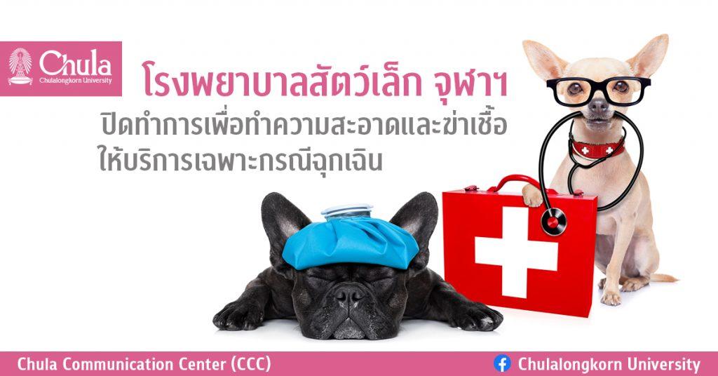 โรงพยาบาลสัตว์เล็ก จุฬาฯ  ปิดทำการเพื่อทำความสะอาดและฆ่าเชื้อ ให้บริการเฉพาะกรณีฉุกเฉิน